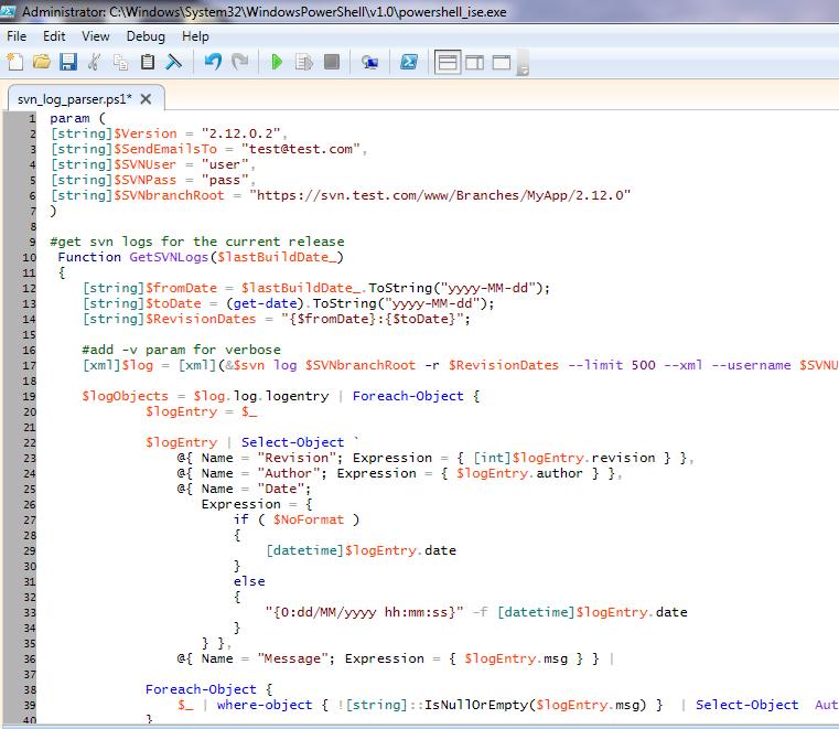 SVN log parsing using PowerShell | Proxmedia